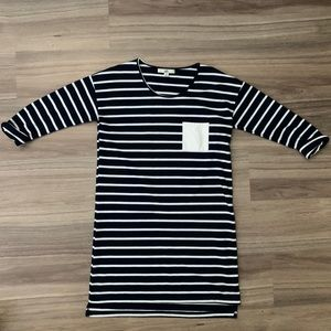 Navy Striped Dress 3/4 Length Sleeves